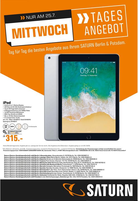 [lokal Berlin/Potsdam] Apple iPad (2017) 128 GB Wifi bei Saturn
