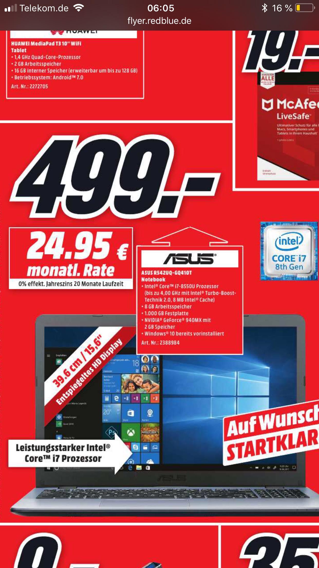 (Lokal) Asus R542UQ-GQ410T Wiedereröffnung MediaMarkt Potsdam