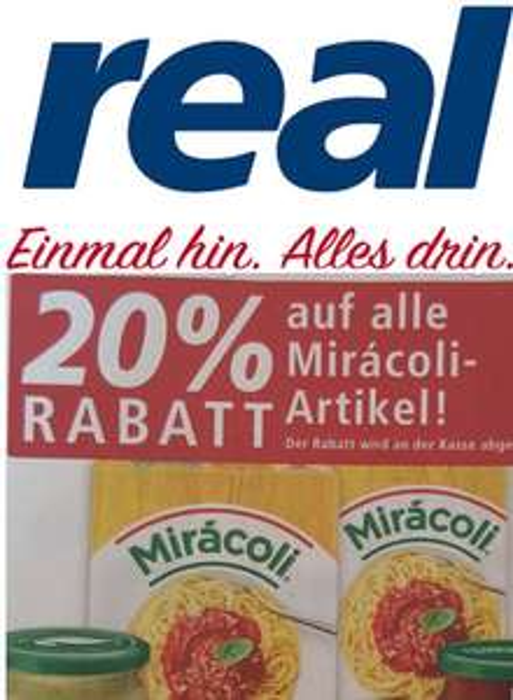 [real] 20% auf alle Mirácoli-Artikel (30.07.-04.08.2018)