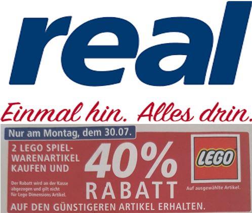 [real] 2 Lego Artikel kaufen, 40% Rabatt auf den günstigeren (nur Montag, 30.07.)