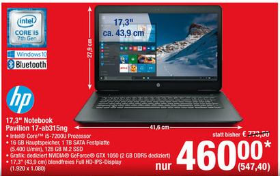 "[METRO] HP Notebook, 17,3"", I5 7200U, GTX 1050, 128 GB SSD, 16Gb RAM"