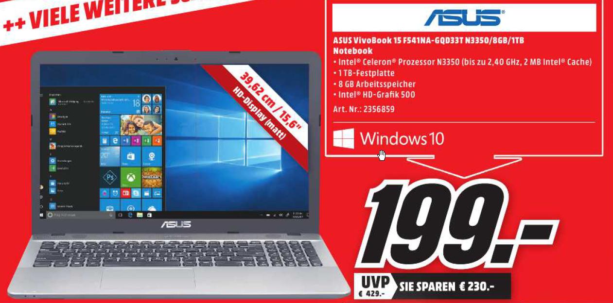 (Lokal MM München Haidhausen) Asus VivoBook F541NA F541NA-GQD33T für 199€ beim