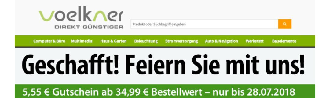 Voelkner 5,55 Euro Gutschein (34,99 Euro MBW)