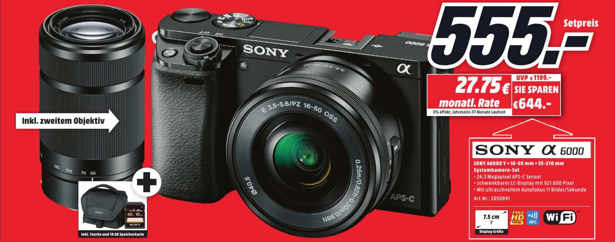 [Lokal Potsdam Mediamarkt Neueröffnung] Sony Alpha 6000 A6000 im Doppelzoomkit