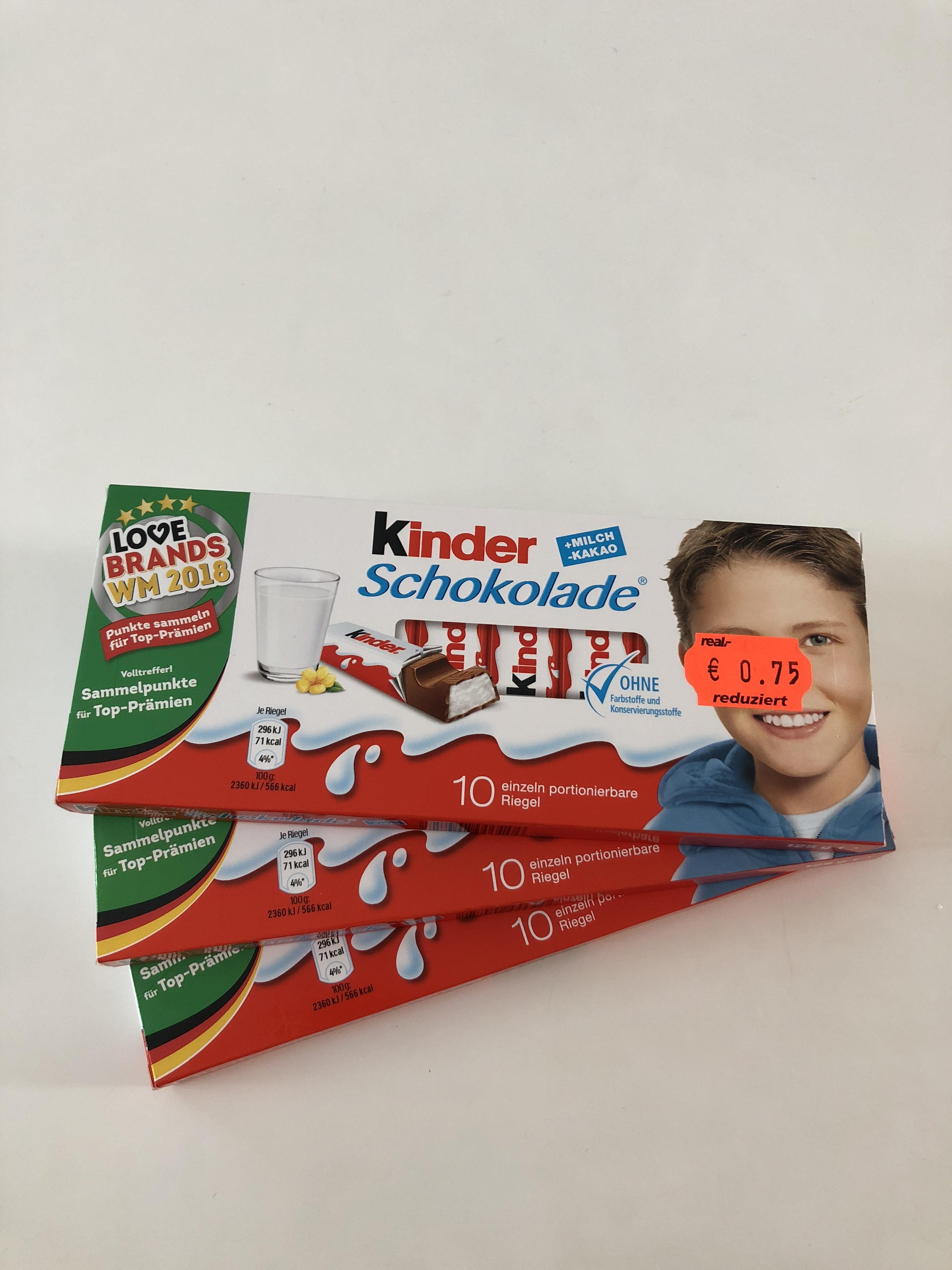 [Lokal] Real in Rheydt Kinderschokolade 10er Packung für 75 Ct