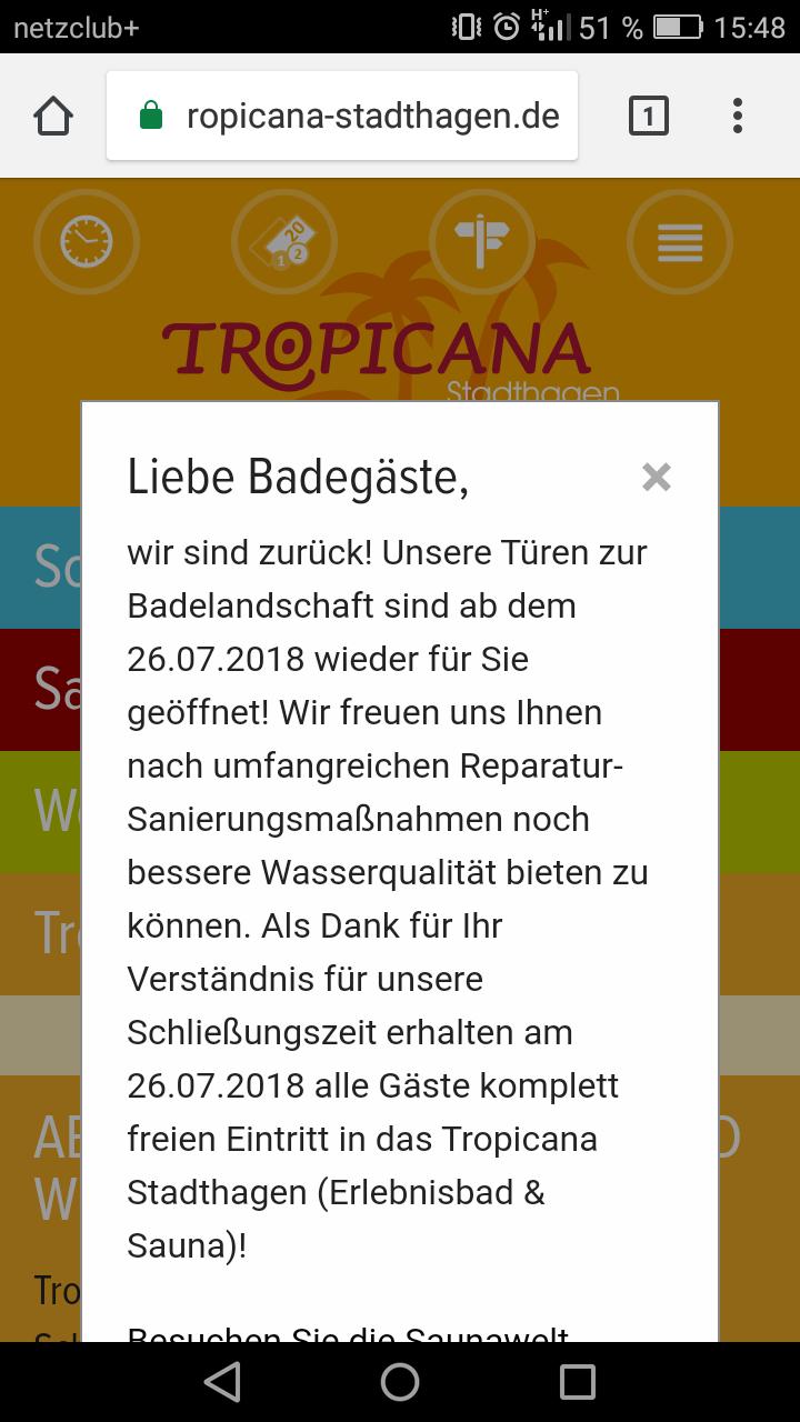 """[Stadthagen] Freier Eintritt ins Tropenbad """"Tropicana"""" am 26.07.2018"""
