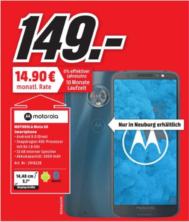 "[Regional Mediamarkt Neuburg a.d Donau] Lenovo Moto G6 32GB/3GB Deep Indigo [14,5cm (5,7"") FHD+ Display, Android 8.0, Octa-Core, 12MP+5MP] für 149,-€"