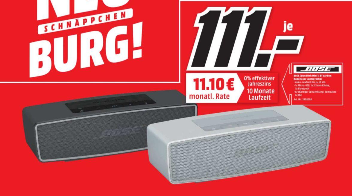 [Regional Mediamarkt Neuburg a.d Donau] Bose SoundLink Mini 2 II Bluetooth Lautsprecher in 2 Farben für je 111,-€