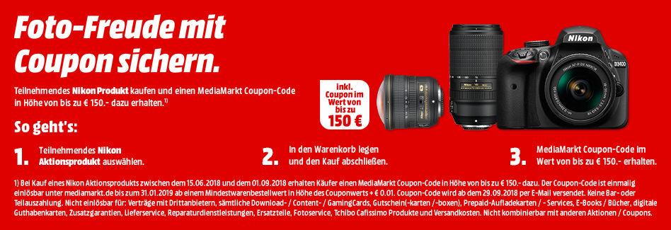 Media Markt Coupon bei Kauf von Nikon Aktionsprodukt