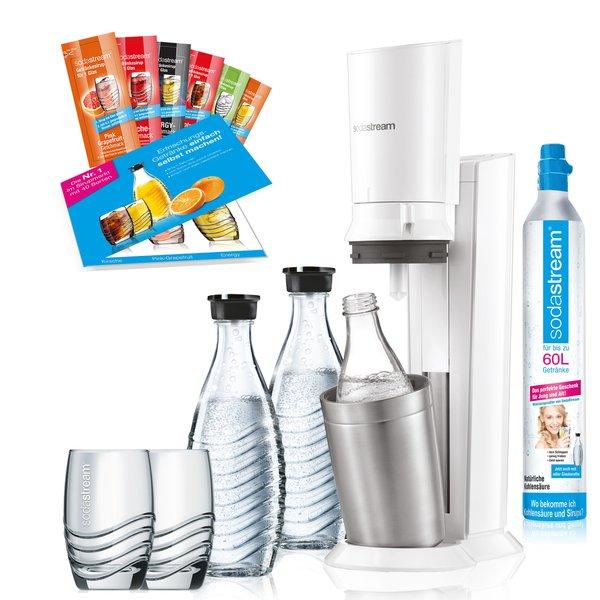 SodaStream Crystal 2.0 weiß Promopack Wassersprudler mit 2 Karaffen, 1 Zylinder, 2 Gläser, 6 Sirupproben für 89€ mit Check24 Gutschein
