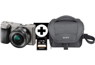 SONY Alpha 6000 A6000 Kit Systemkamera 24.3 Megapixel mit Objektiv 16-50 mm f/5.6, 7.5 cm Display , WLAN mit Kameratasche und 16GB SD Karte gratis