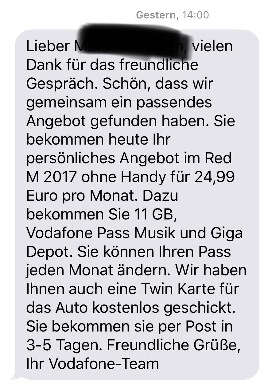 Vodafone VVL Red M 11GB simonly 24,99€ mit GigaKombi