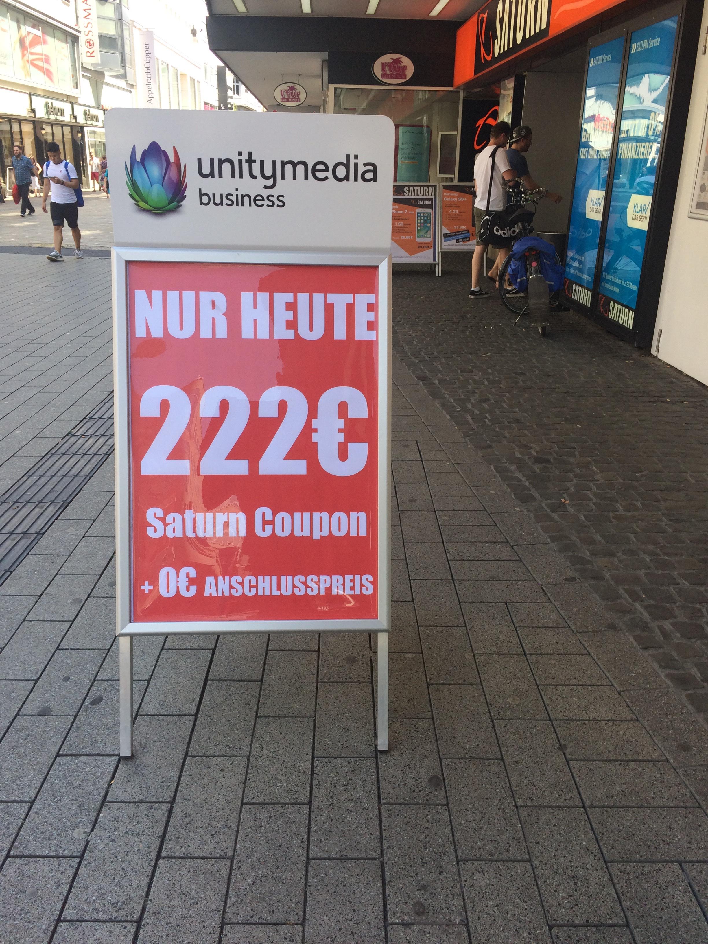 Unitymedia Aktion 222€ Coupon + Ohne Anschlusspreis (Lokal) Saturn Dortmund