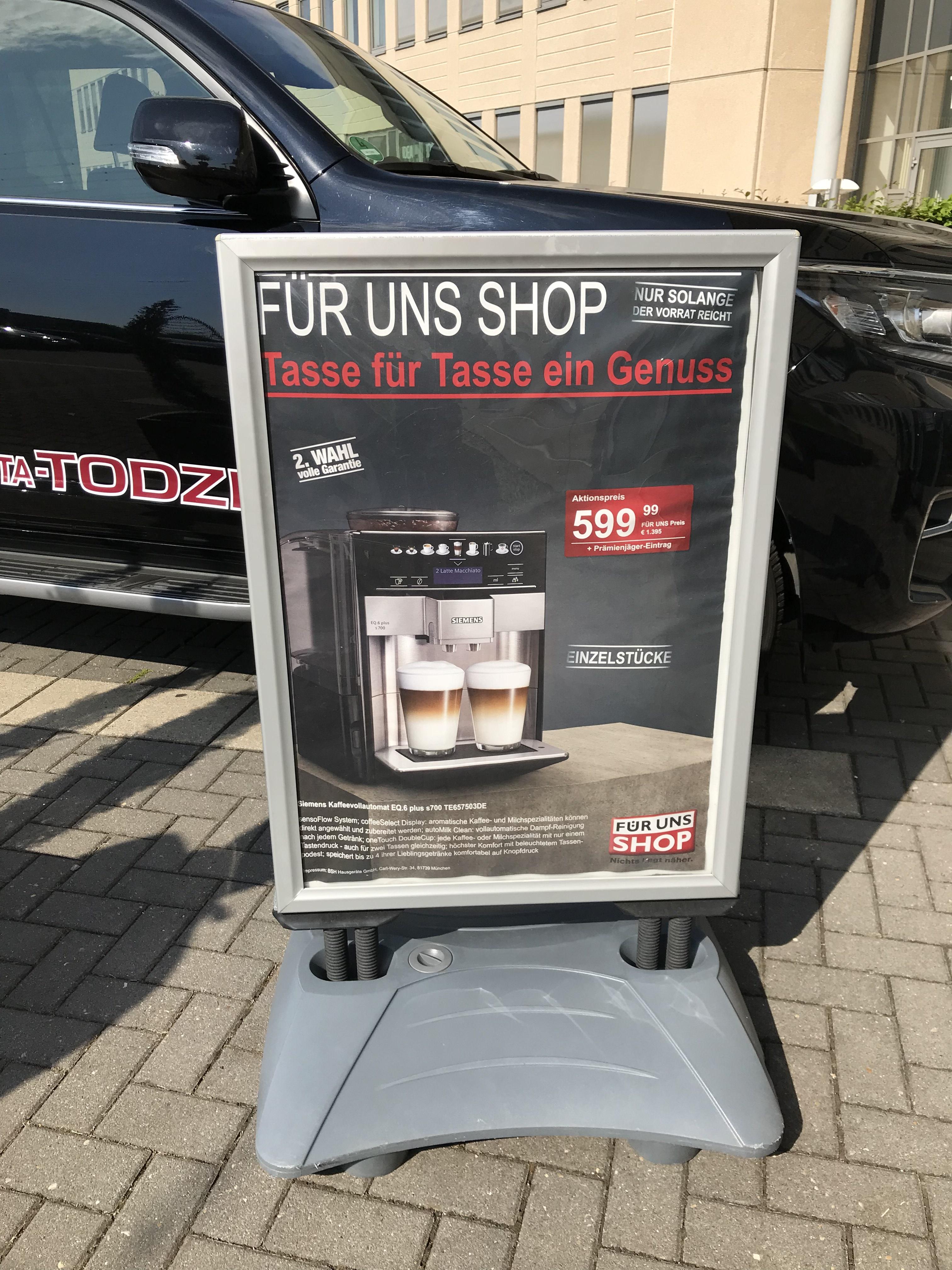 [Lokal] Siemens Kaffeevollautomat EQ.6 s700 TE657503DE Für uns Shop Essen und Mülheim