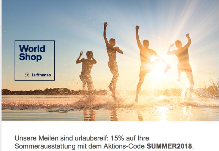 15% Meilennachlass im Lufthansa Worldshop (miles&more)