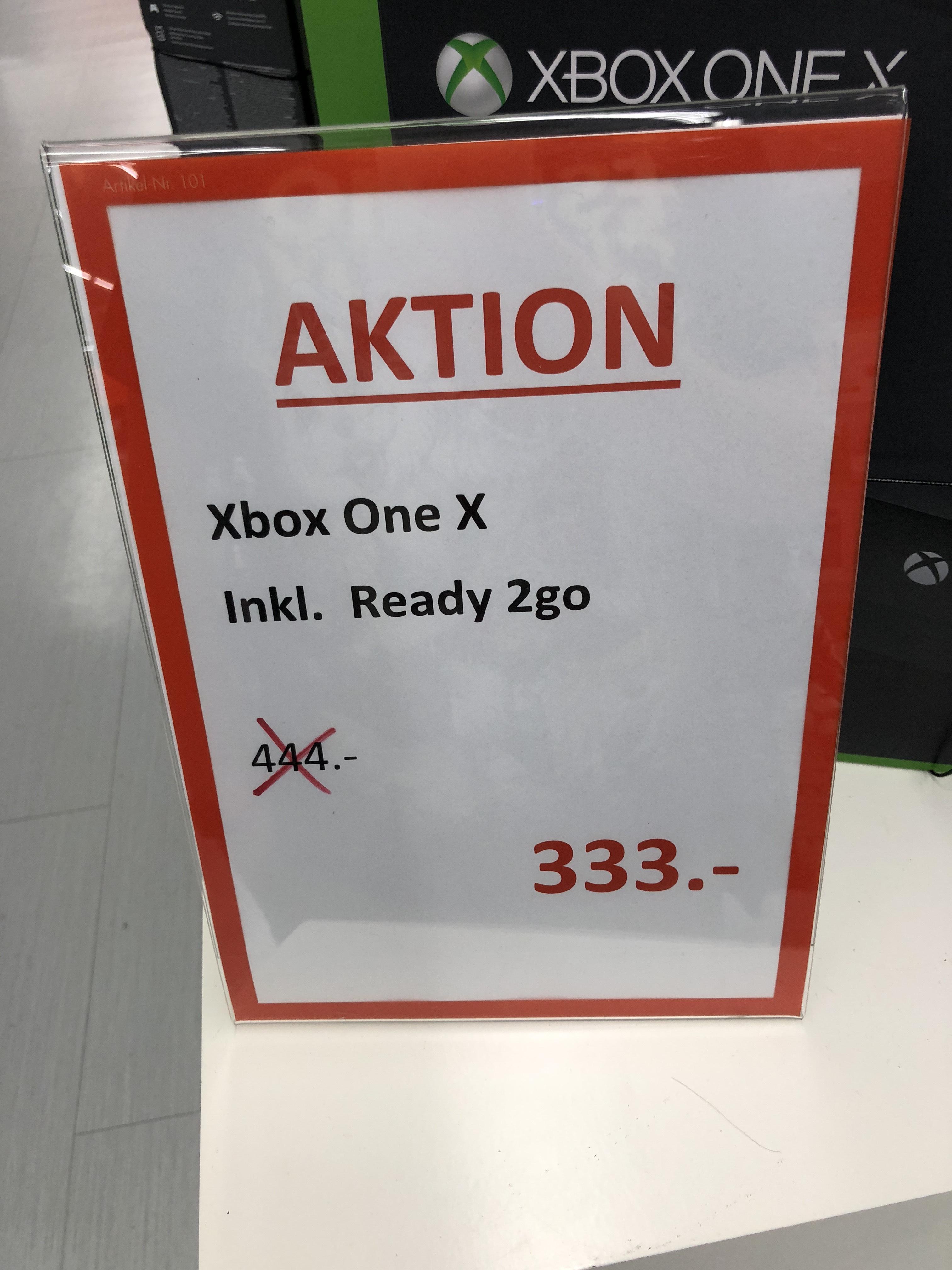 LOKAListische Microsoft Xbox One X 1TB Konsole, Standard Edition für 333€ inklusive Ready2Go im Wert von 29,90€ / LOKAL / Saturn Duisburg