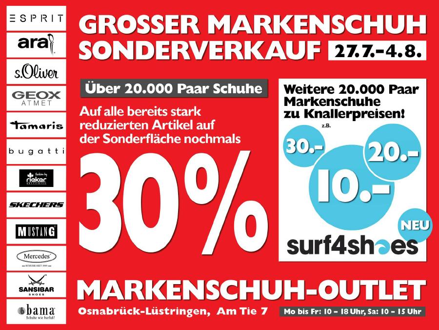 [Osnabrück] Sonderverkauf beim Markenschuh-Outlet