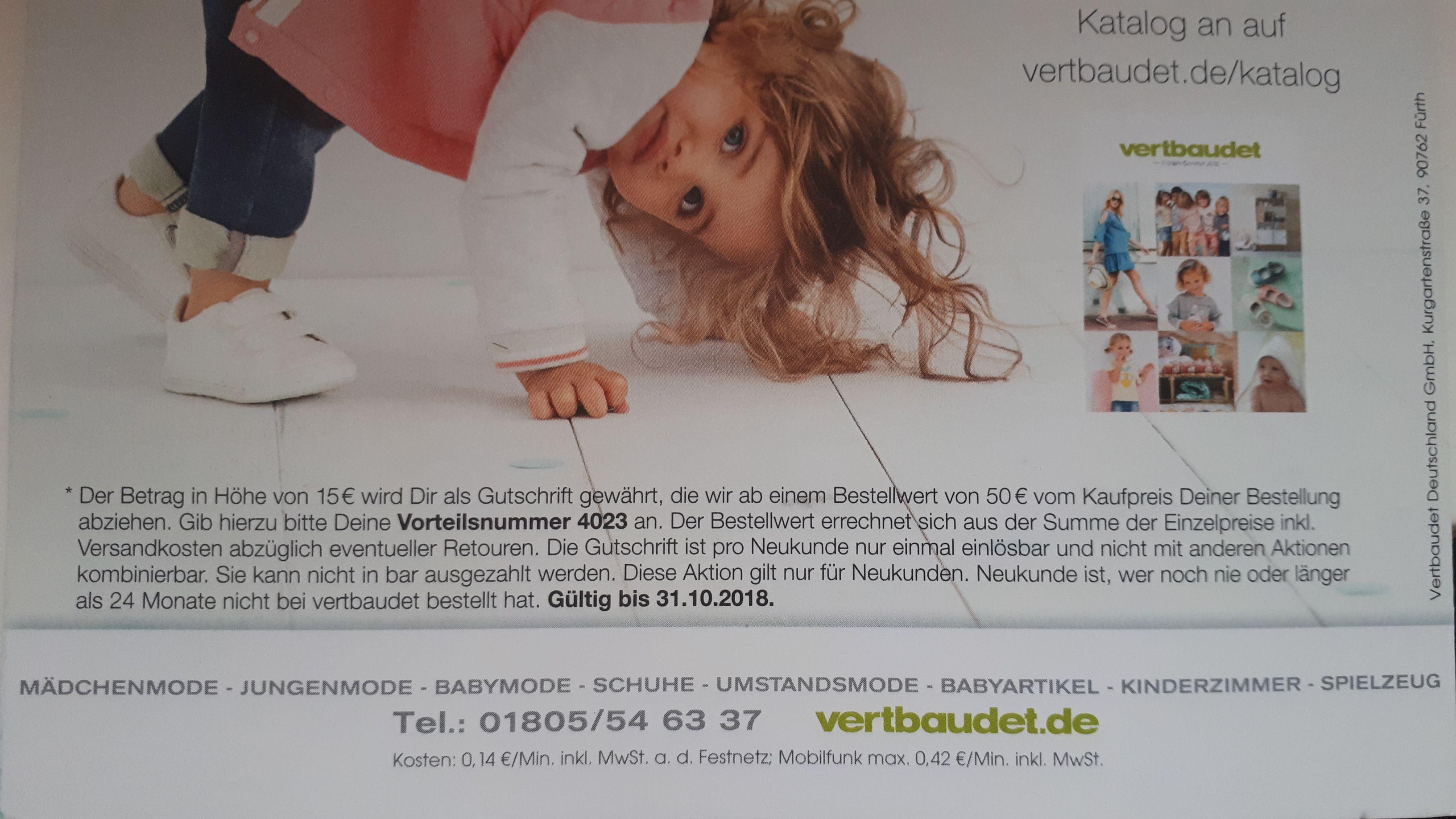 Vertbaudet Neukunden 15€ Gutschein, 50€ MBW