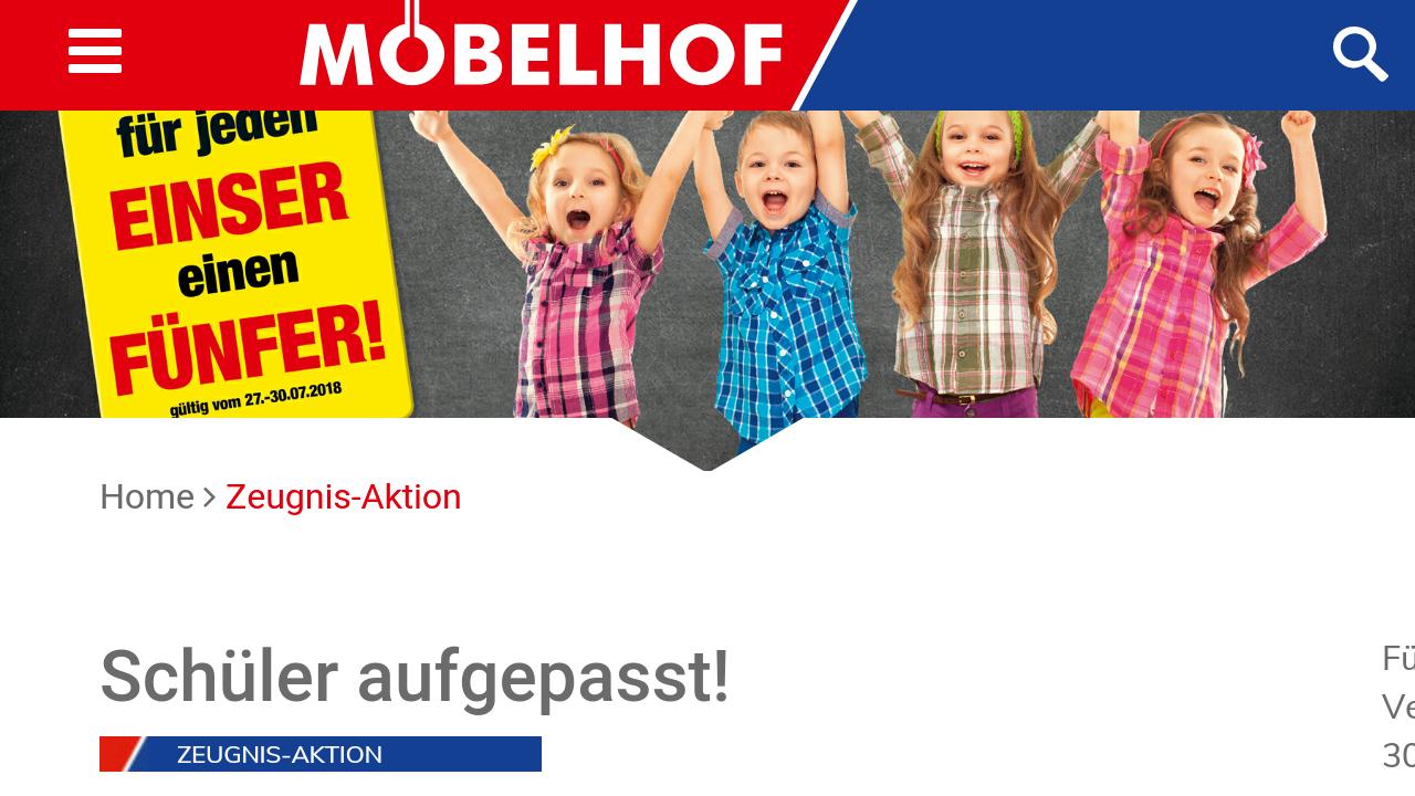 [Möbelhof Parsberg/Ingolstadt] Zeugnisaktion: 5 Euro Gutschein für jede 1 plus gratis Schnitzel mit Pommes