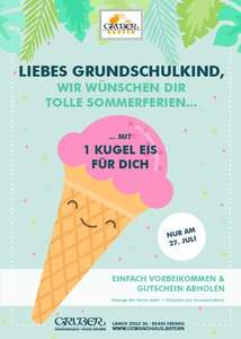 [Lokal Erding] Gratis Eis für Grundschulkinder ab 9 Uhr (Freitag, 27. Juli - Gruber)