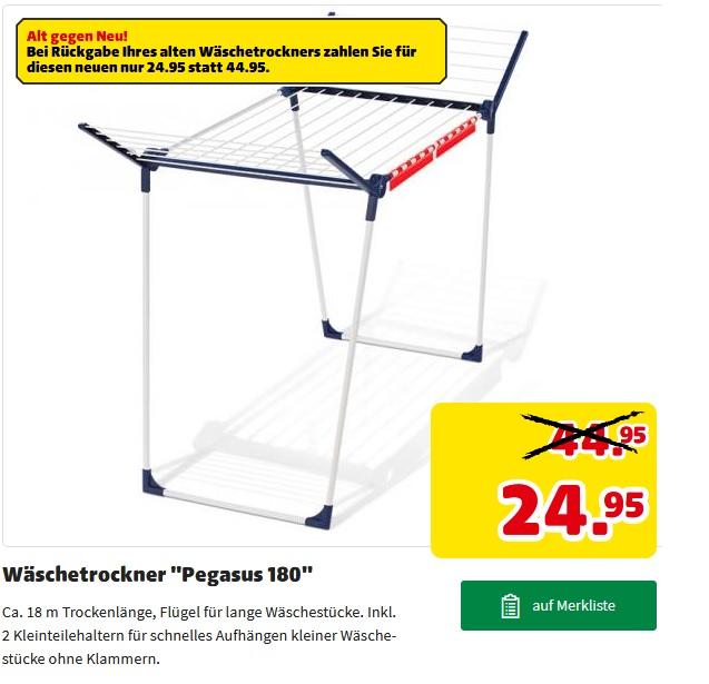 """[hagebau]Wäscheständer / -trockner """"Pegasus 180"""" von Leifheit Bei Rückgabe Ihres alten Wäschetrockners  nur 24,95€"""