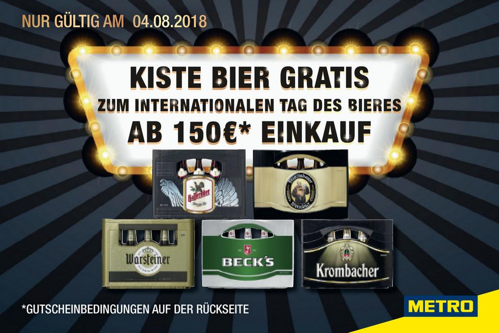 Am 04.08.2018 bei Metro-Einkauf ab 150 € Kiste Bier gratis [Metro]