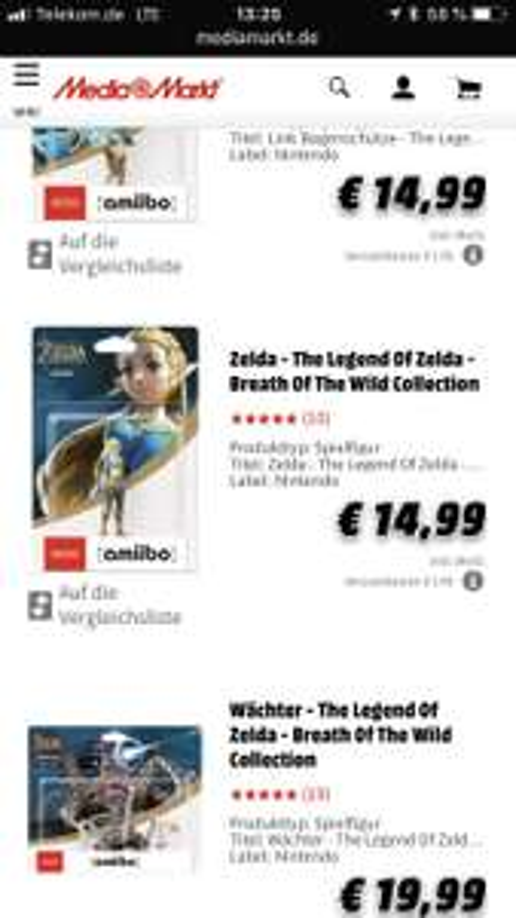[Update - Nur noch Wächter] Verschiedene Zelda Amiibo Media-Markt Online
