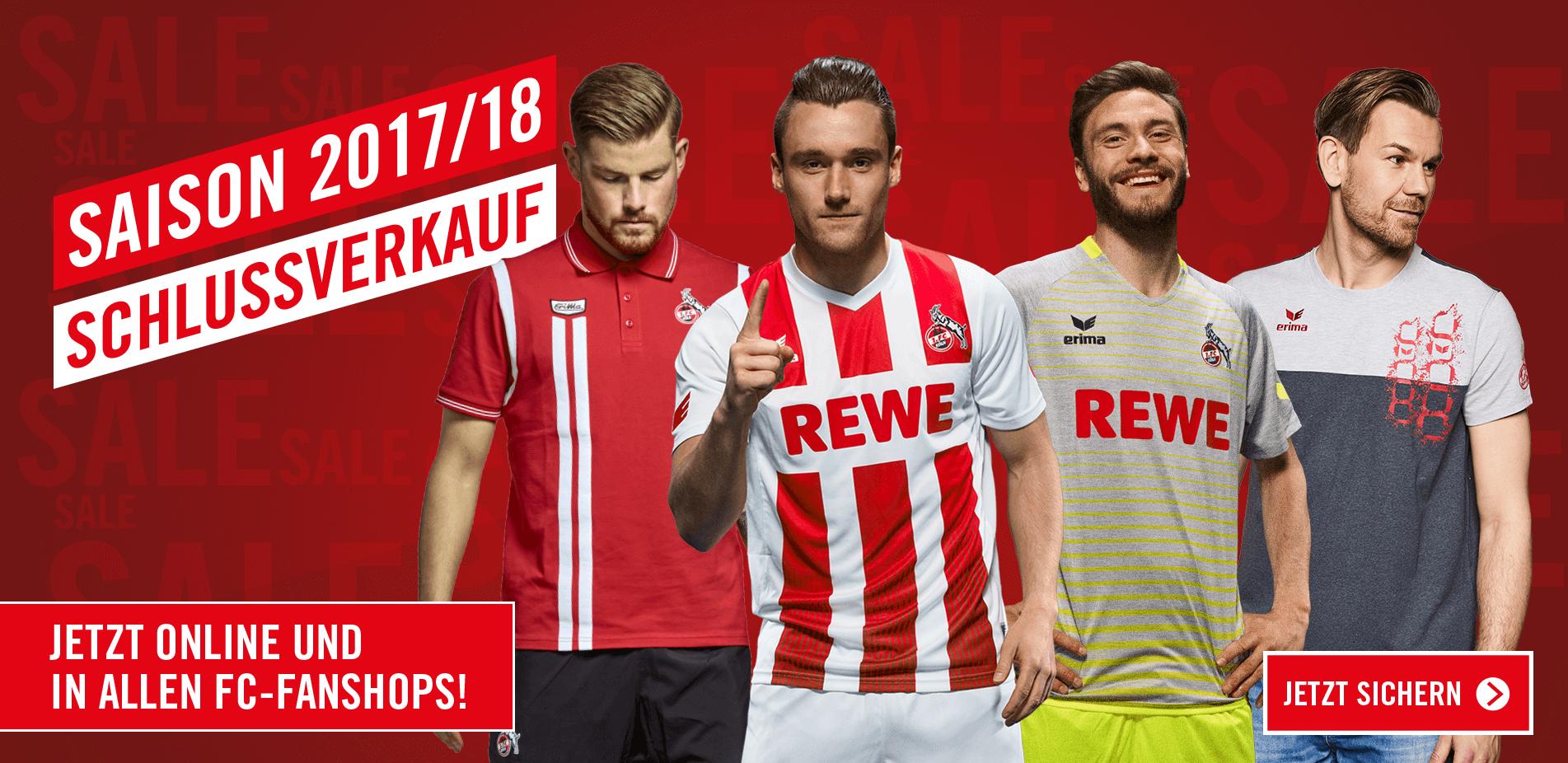 1.FC Köln - Erima Sale 2017/18 z.B. Heimtrikot 2017/18 (S,M) 24,95€