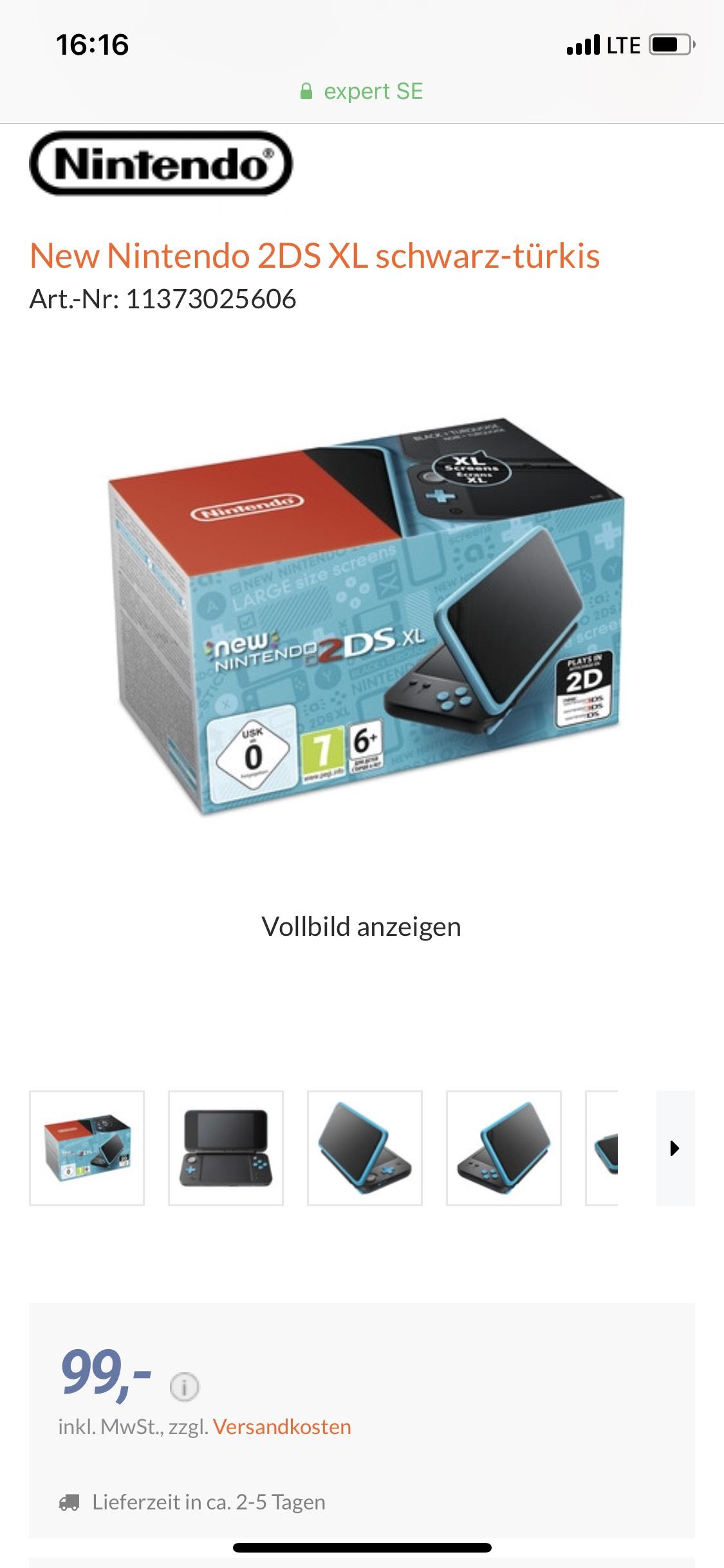 Nintendo New 2DS XL schwarz-türkis 102,99€ mit Versand