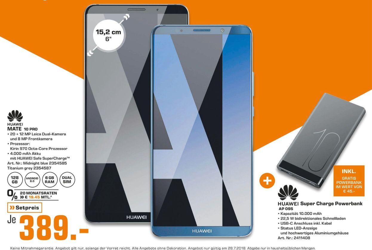 [Regional Saturn Berlin alle Märkte-Nur Samstag] Huawei Mate 10 Pro 128GB, Android 8.0, DualNano-SIM, IP67 in 2 Farben + Huawei Super Charge Power Bank (AP09S) 10000 mAh für 389,-€