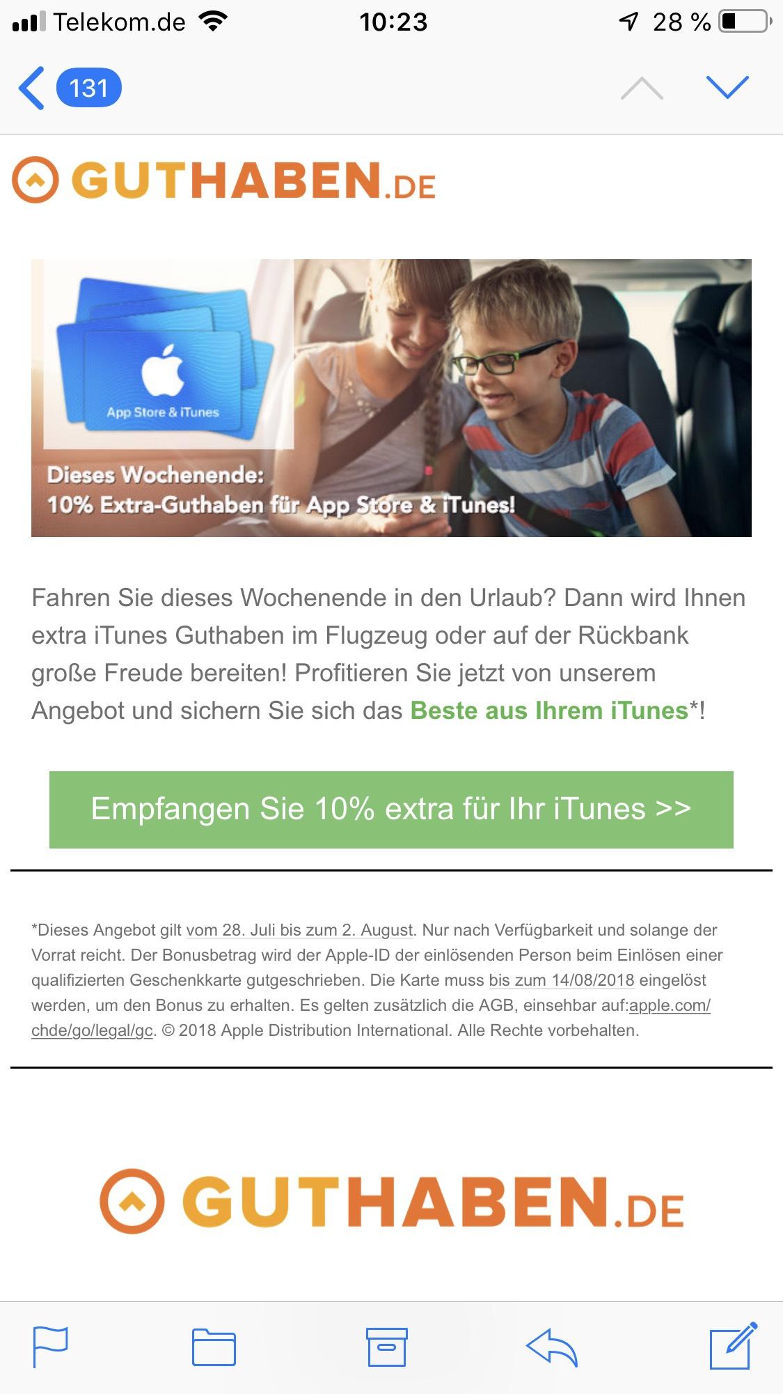 iTunes 10% extra Guthaben ab 25€ bei Guthaben.de