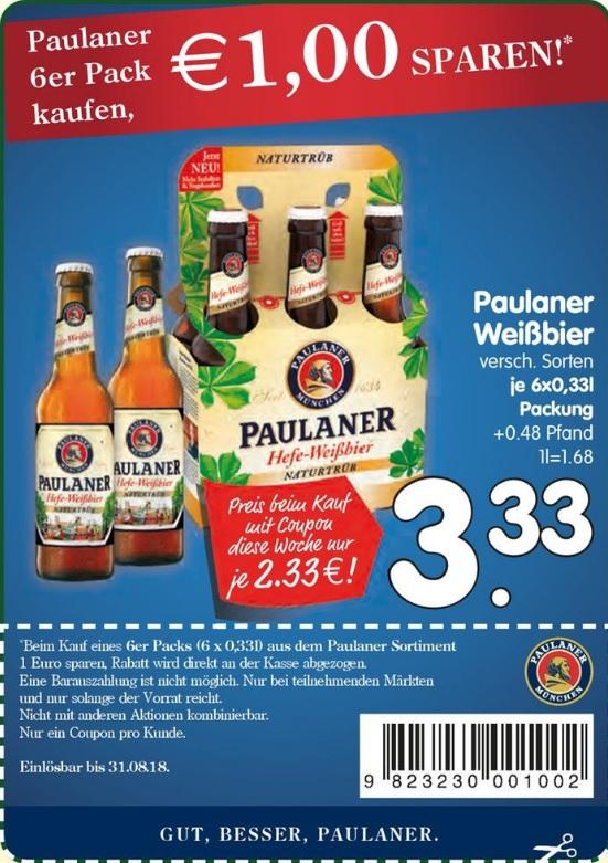 [ EDEKA Region Bayern ] Paulaner Weißbier 6x 0,33l Sixpack für 2,33€ (Angebot + Coupon)