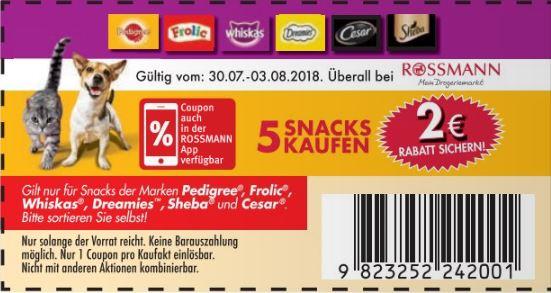 2€ Rabatt beim Kauf von 5 Snacks der Marken Pedigree, Whiskas, Frolic, Dreamies, Cesar und Sheba bei Rossmann