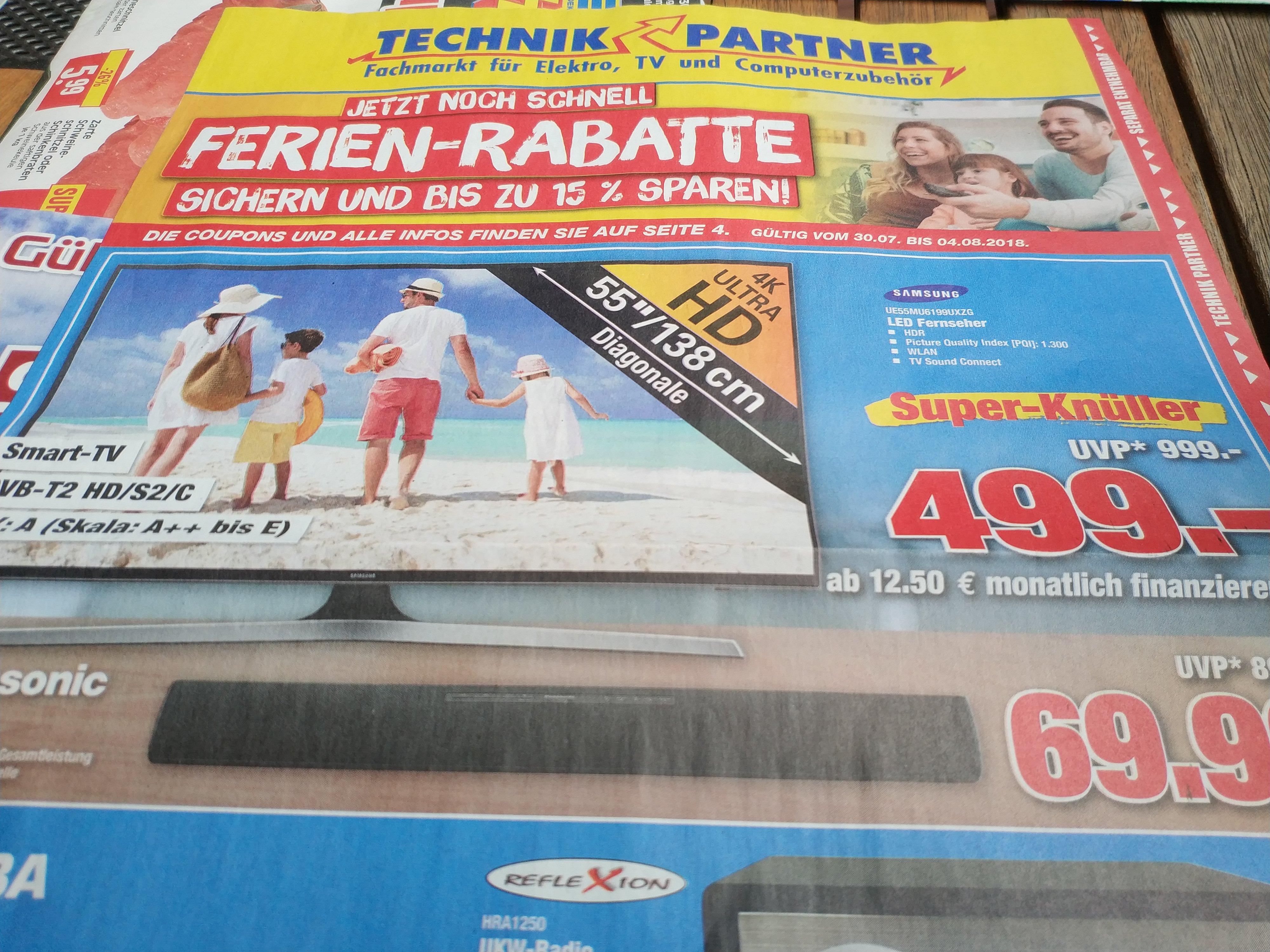 "Samsung UE55MU6199- 55"" 4K UHD TV, 3xHDMI, Triple Tuner, HDR, Smart TV für 499€ @Technik Partner Vellmar (bei Kassel)"