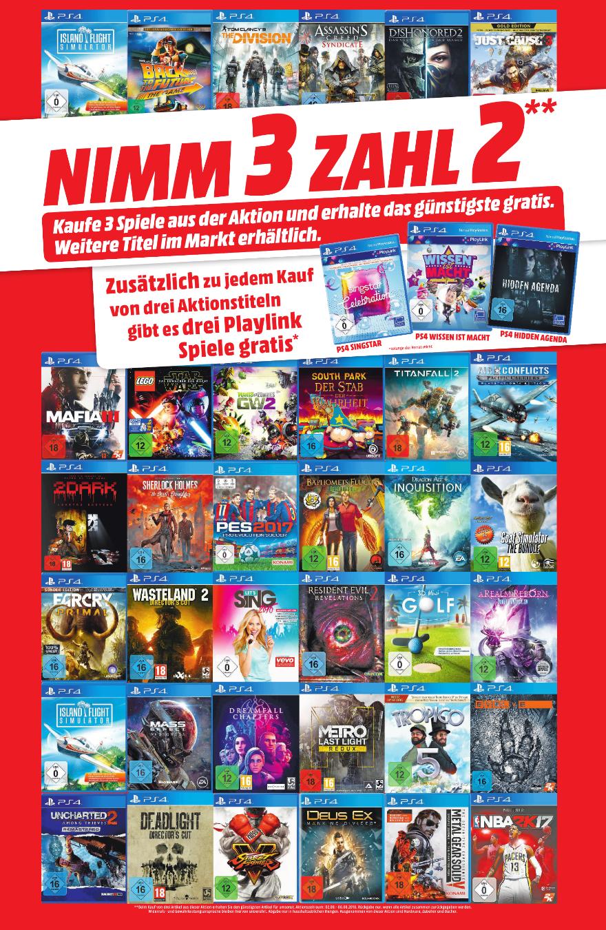 [Regional Mediamarkt Aalen,Ellwangen,Nördlingen,Heidenheim,Schwäbisch Gmünd ] Nimm3-Zahl2 Aktion auf ausgesuchte Games.Bei Kauf von 3 Titeln, gibt es noch 3 PlayLink Spiele Gratis dazu