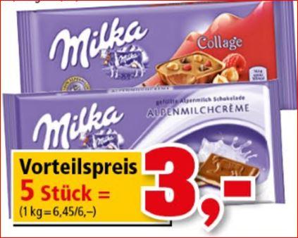5 Tafeln Milka Schokolade für nur 3,00 Euro  - 60 Cent / Tafel [Thomas Philipps]