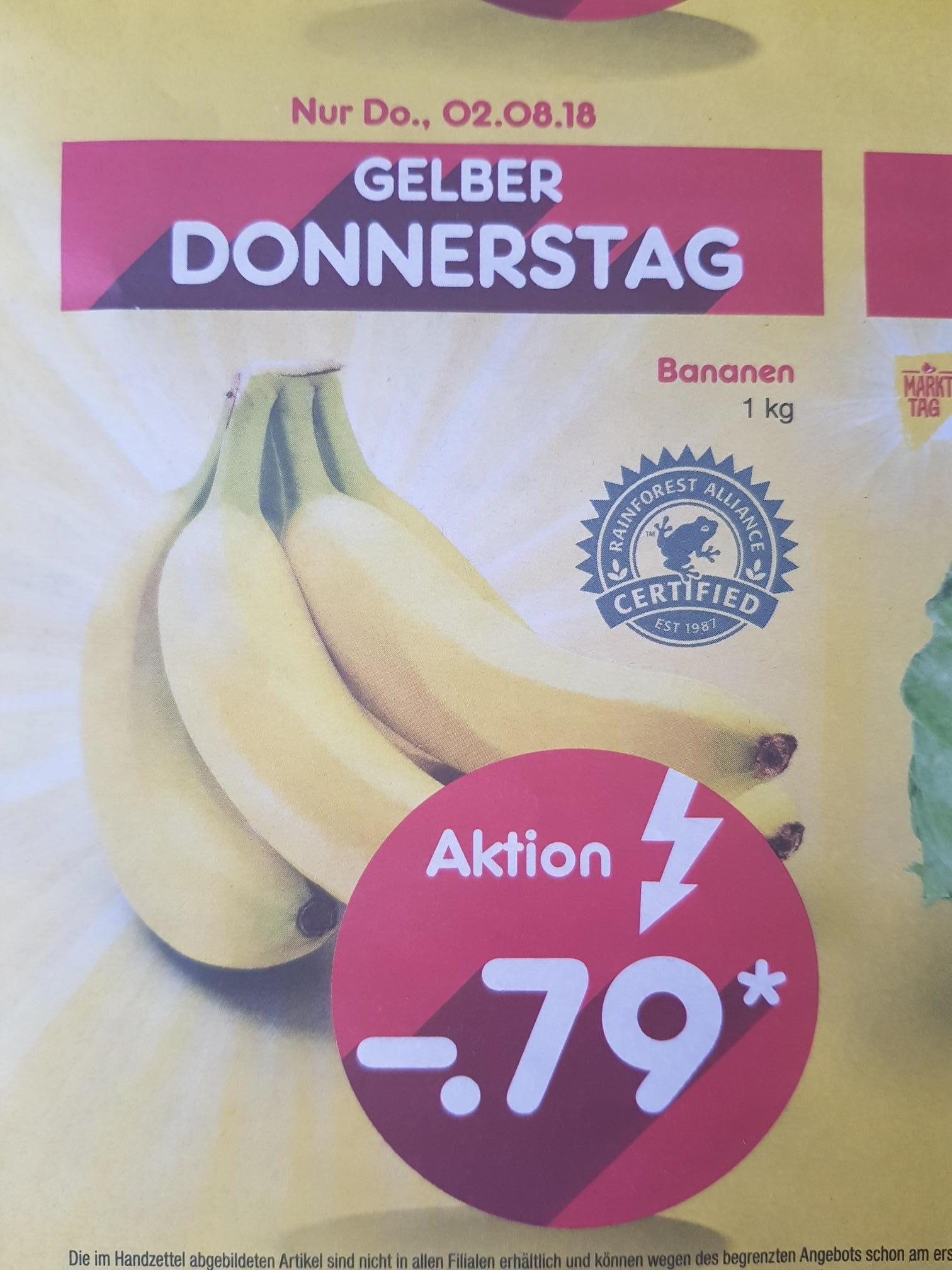 [Netto lokal RLP]Am 02.08. 1kg Bananen bei netto für 0,79 €, weitere Angebote im Text![ohne Hund]