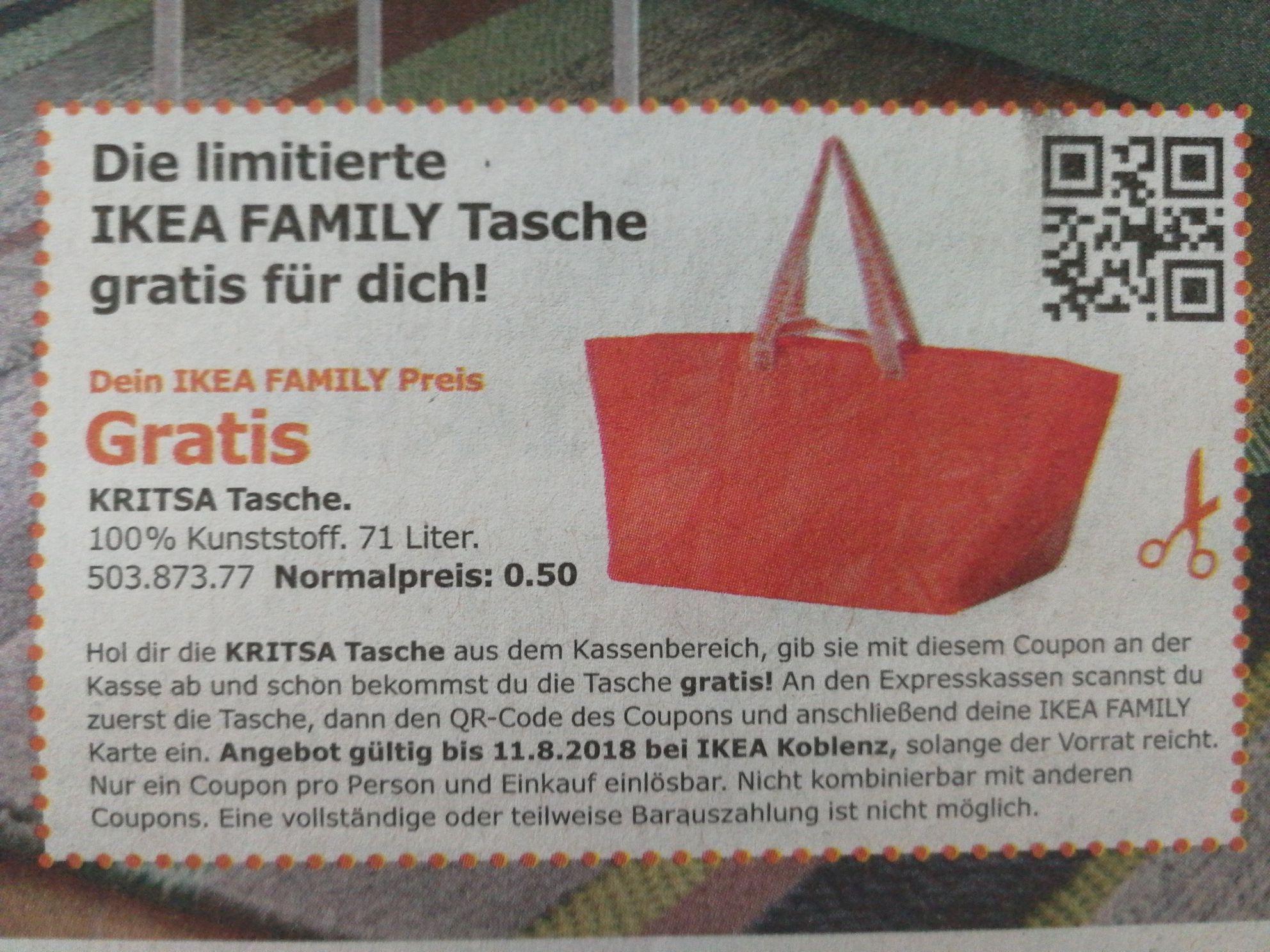 [lokal Koblenz?] Gratis Iimitierte Ikea Family Tasche durch Coupon in Super Sonntag/Am Wochenende (E-Paper)