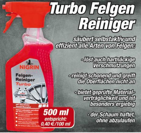 [Posten Börse] NIGRIN Felgenreiniger Turbo (500 ml) für 1,99 €
