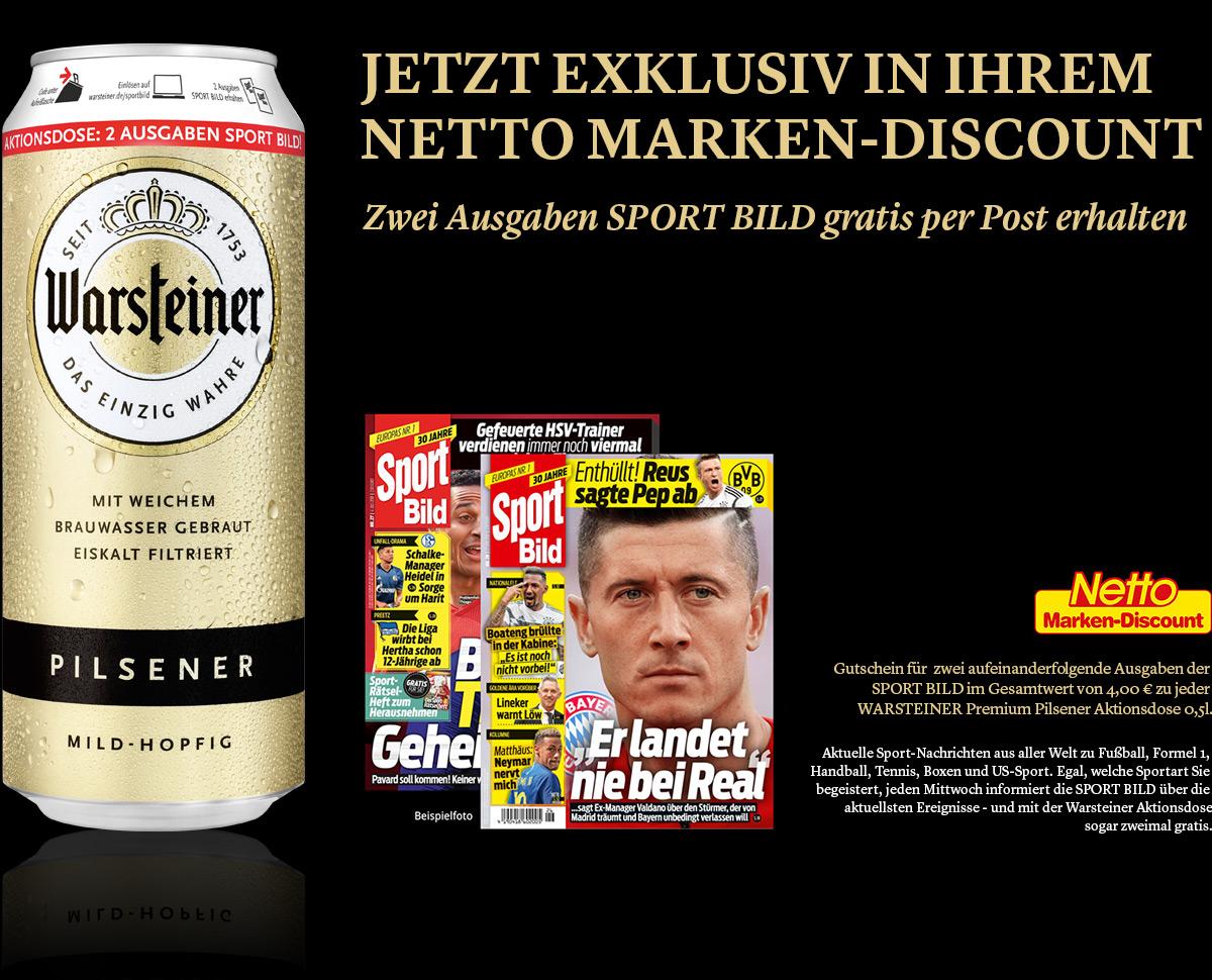 [ NETTO 30.07 - 04.08 ] Warsteiner Bier 0,5l Dose + 2 Ausgaben Sport Bild Print für 0,59€ (Abo endet automatisch)