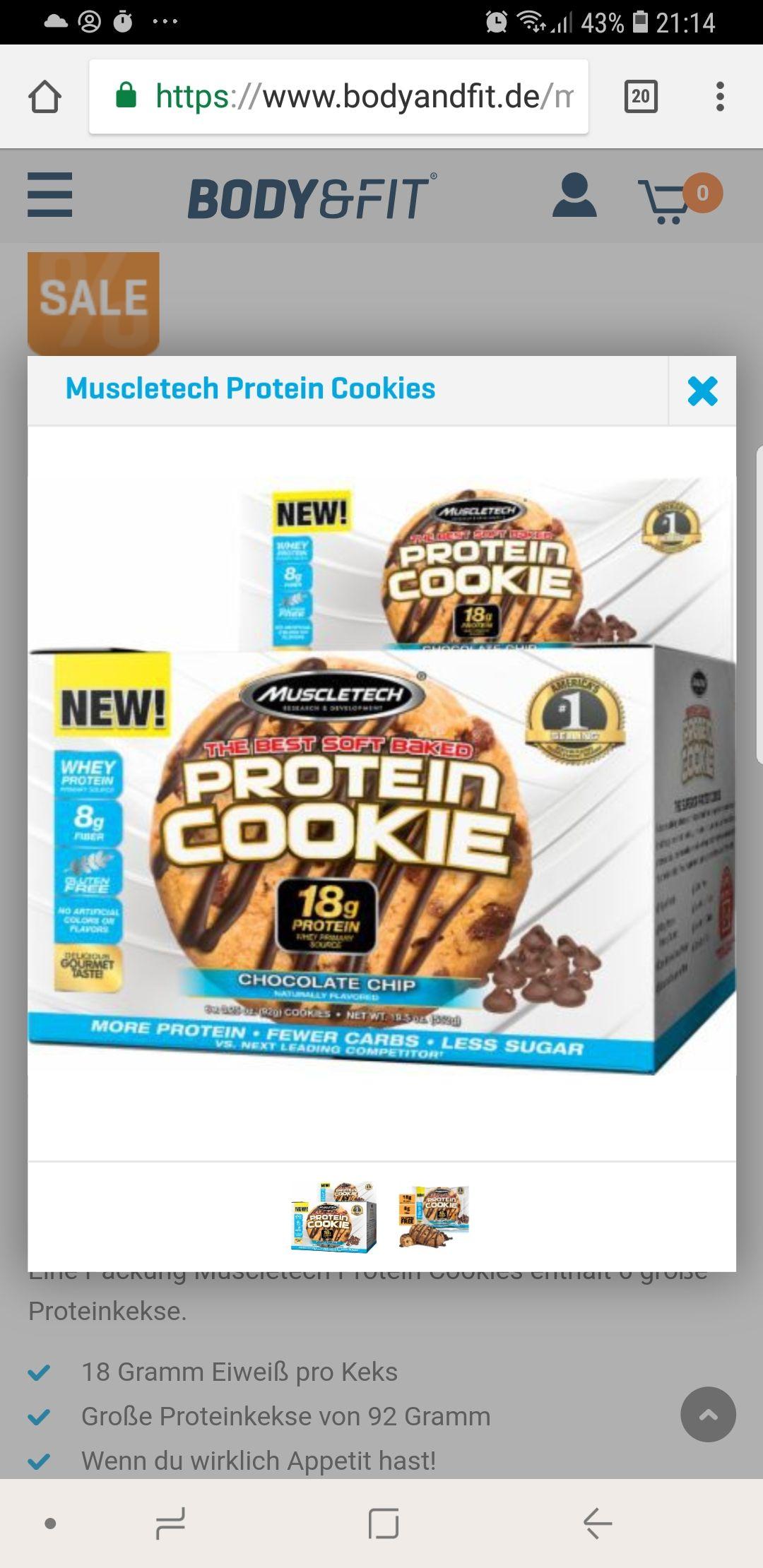 6x Protein Cookies für 3,90 Euro + 3,90 Euro Versand statt 23,80 Euro - bei bodyandfit.de