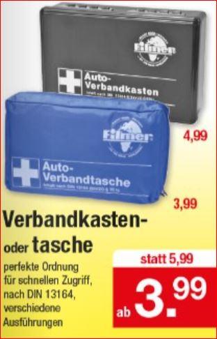 Verbandtasche für 3,99 Euro / Verbandkasten 4,99 Euro, [Zimmermann]