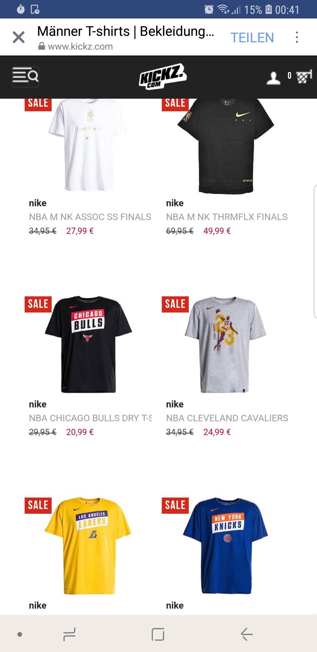 30% Rabatt auf NBA-Nike T-Shirts bei KICKZ.com - versandfrei