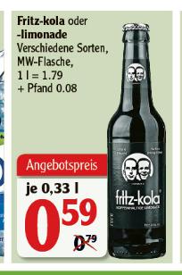 [Globus Rostock] Fritz Kola / Brause verschiedene Sorten - 0,33l Flasche - scheinbar lokal