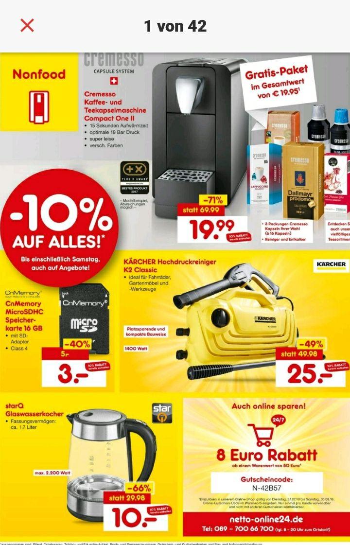 [Lokal Lemgo] Netto MD Wiedereröffnungsangebote: Kaffeemaschine, Micro SD, Hochdruckreiniger, Wasserkocher, 10% auf alles