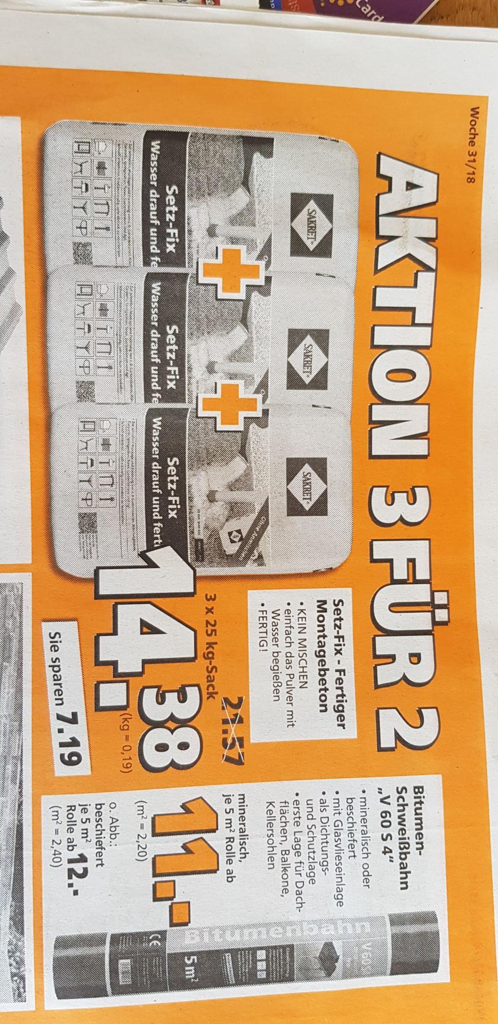 Globus Baumarkt : Sakret setz-fix Schnellbeton 3 für 2