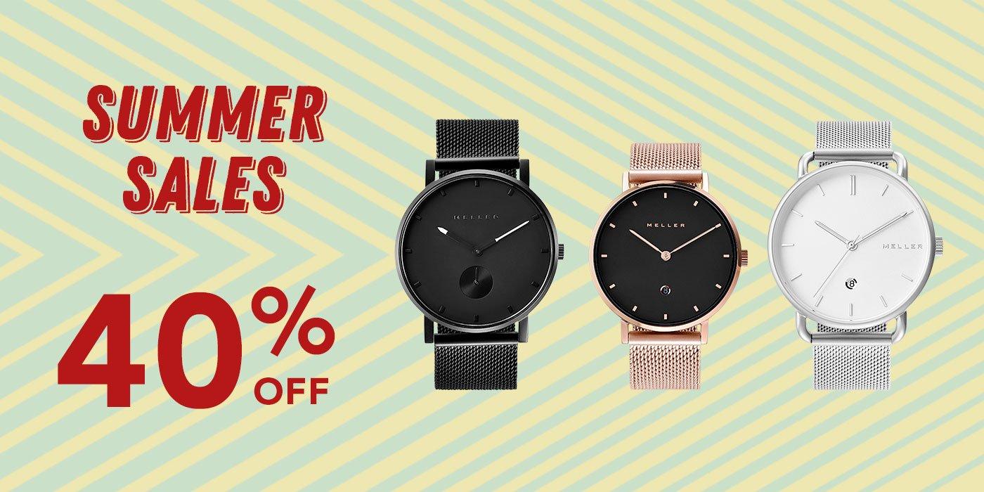 Meller Summer Sale: Uhren 40 % und Sonnenbrillen 50% Rabatt (auch auf Sale Artikel)
