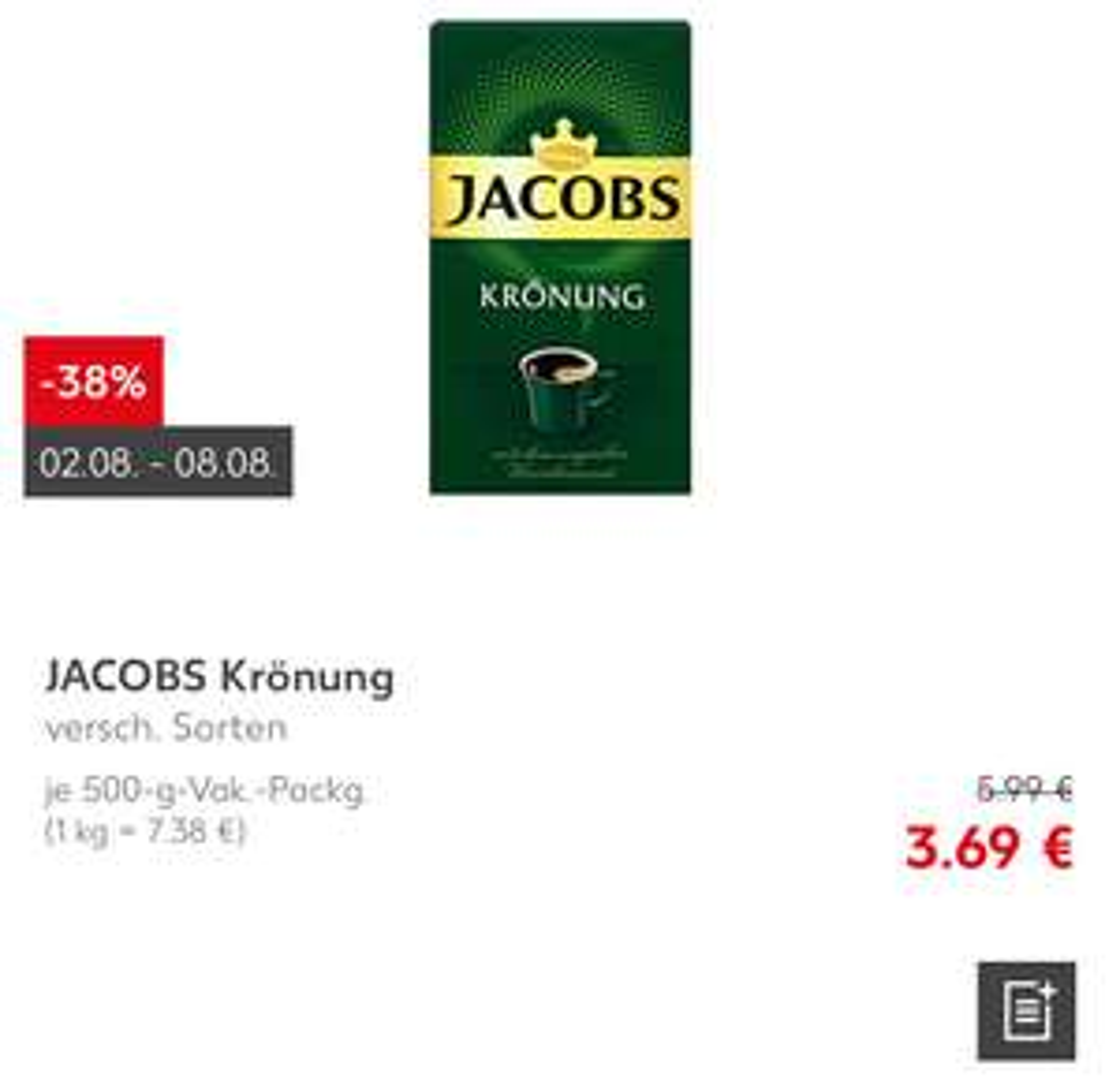 [Kaufland bundesweit] ab 02.08 - 08.08 Jacobs Krönung 500g
