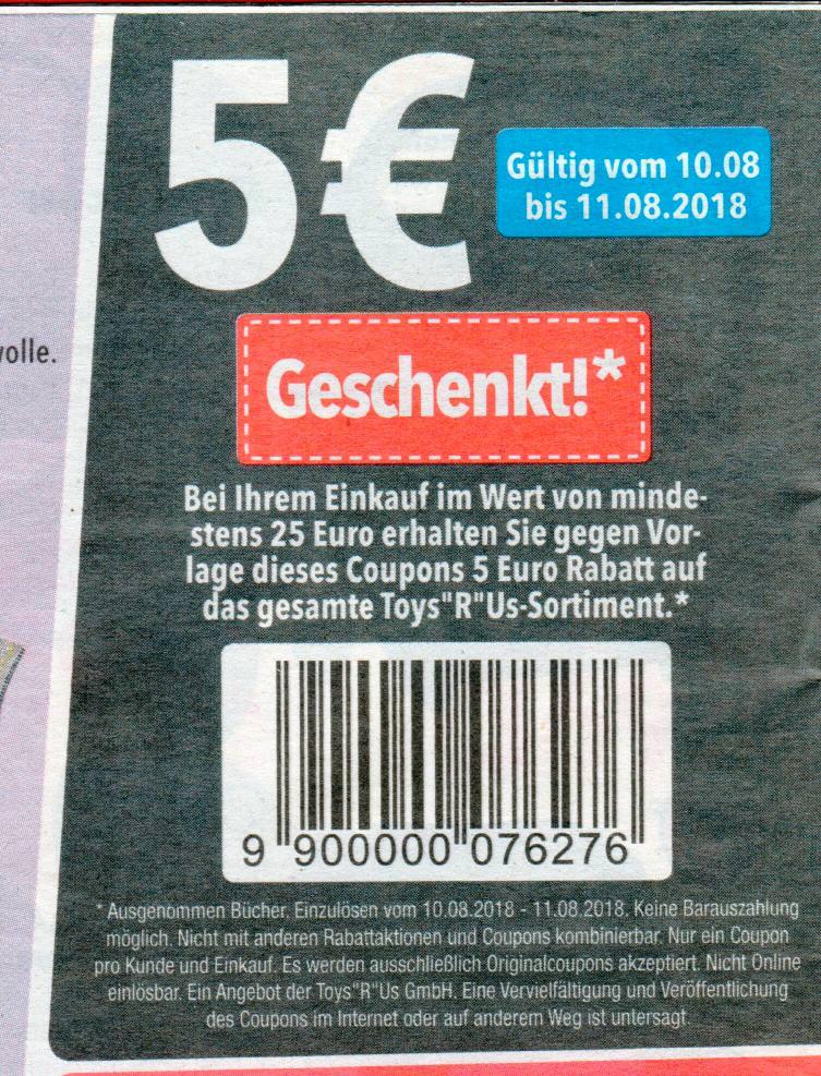 5,00€ Coupon ab 25€ für einen Einkauf in der Filiale (10.08.-11.08.2018) [ToysRUs]