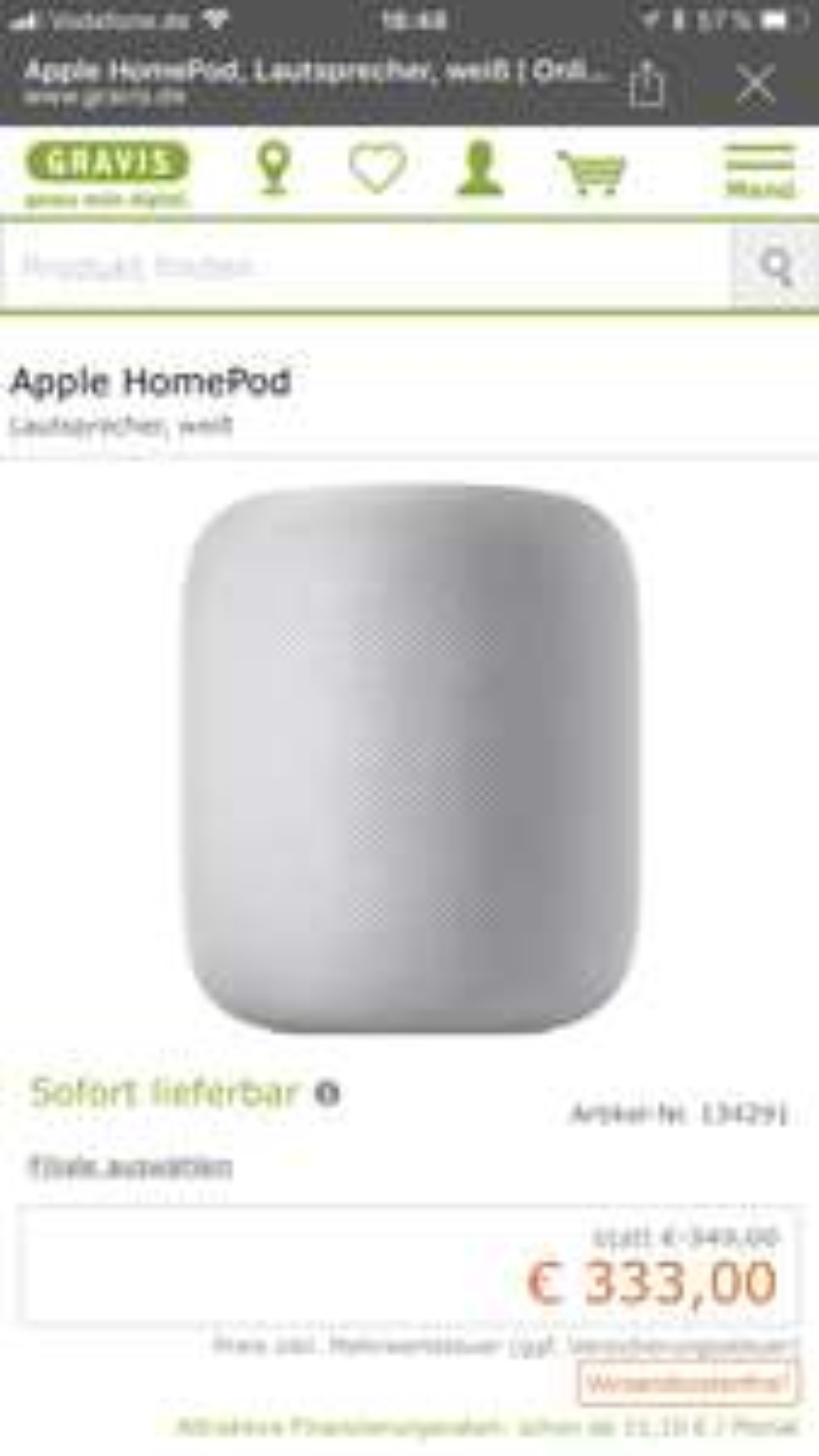 Apple HomePod bei Gravis um Angebot !